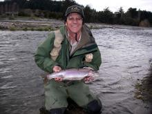 Adrian Bond with a nice trout on Tongariro