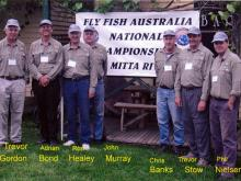 02 BFFC Members, Controllers at FFA Championships on Mitta River Nov.07 outside Blue Duck at Anglers Rest.